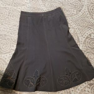 CAbi Brown Fit&Flare Midi Skirt size 8